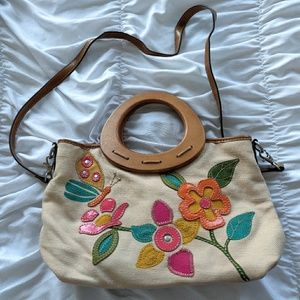 Adorable Relic Applique Flower & Butterfly Purse